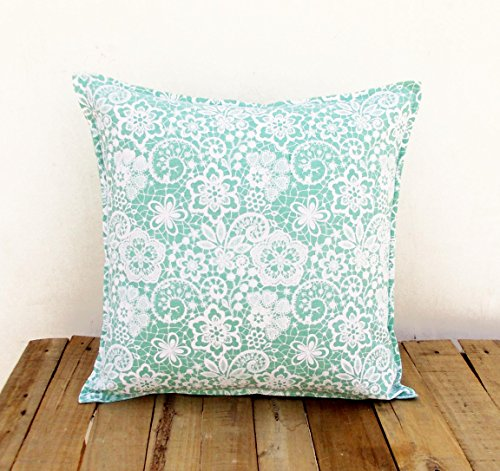 VLiving Mint Throw Pillow Cover Lace Print Cotton Pillow Sizes Available (12X12)