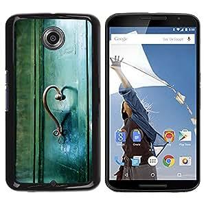 Be Good Phone Accessory // Dura Cáscara cubierta Protectora Caso Carcasa Funda de Protección para Motorola NEXUS 6 / X / Moto X Pro // Teal Heart Door Photo Beautiful Meaning
