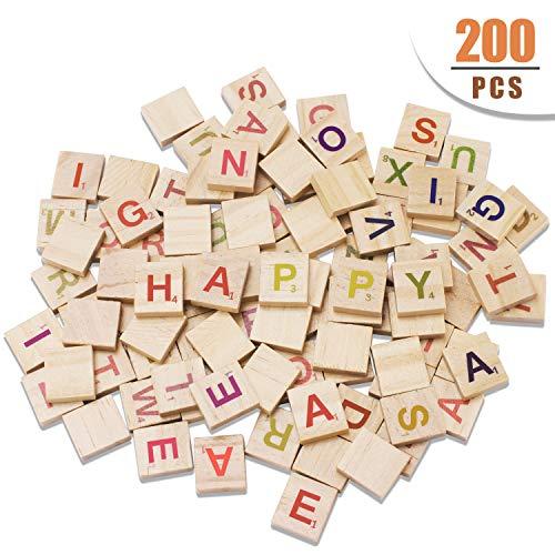 Scrabble Tiles - Wood Letter Tiles/ Wooden Scrabble Tiles A-Z Capital Letters for Crafts, 200PCS