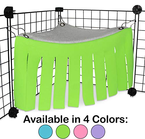 Corner Fleece Forest Hideout for Guinea Pigs, Ferrets, Chinchillas, Hedgehogs, Dwarf Rabbits and Other Small Pets - Accessories and Toys (Green/Gray) from Pulse Brands