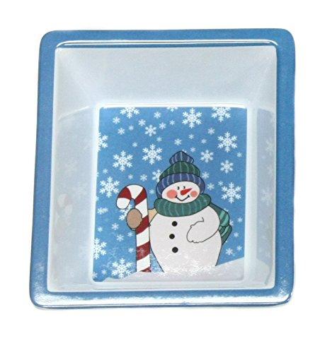 Square Snowman & Snowflakes Christmas Dish 6