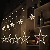 Coudre Star Curtain Lights 12 Stars 138 LED Star String Lights 8 Modes Stars Shaped String Lights Plug in Curtain Lights for Bedroom, Wedding, Party, Christmas, Decorations for The Home (Warm White)