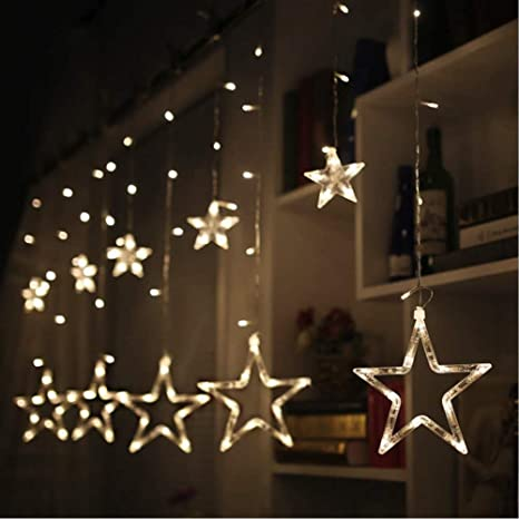 Coudre Star Curtain Lights 12 Stars 138 LED Star String Lights 8 Modes  Stars Shaped String Lights Plug in Curtain Lights for Bedroom, Wedding,  Party, ...