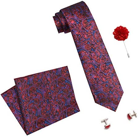 Axlon Formal/Casual Printed Polyester Necktie Set with Pocket Square, Brooch Pin and Cufflinks for Men (Free Size, Red/Blue)