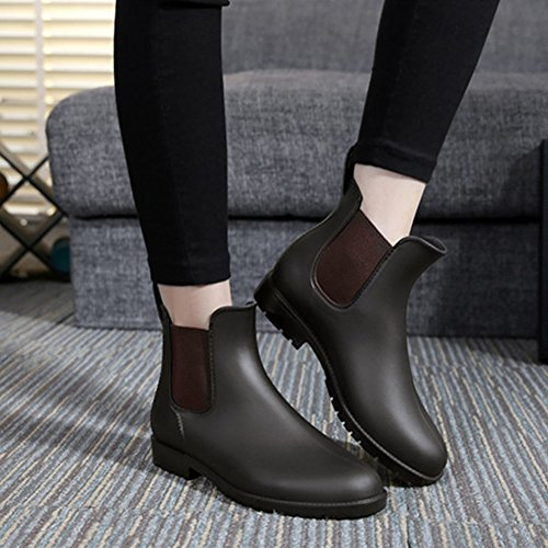 MAIERNISI Elastic Chelsea Booties Design Brown Fashion 1 Women's Rain nbsp;JESSI Boots Short Ankle q4qFrC