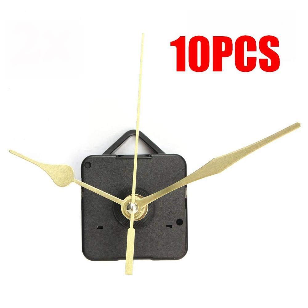 5 pcs 10 pcs New Gold Hands Quartz Black Wall Clock Movement Mechanism Repair Parts Silent
