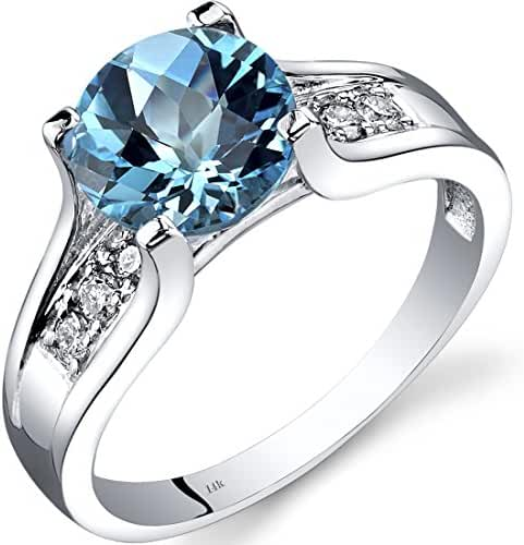 14K White Gold Swiss Blue Topaz Diamond Cocktail Ring 2.25 Carats Sizes 5-9
