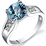 14K White Gold Swiss Blue Topaz Diamond Cocktail Ring 2.25 Carats Size 7