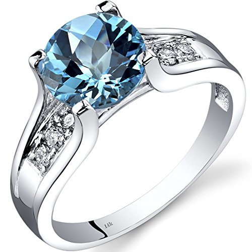 14k Gold Birthstone Ring - 14K White Gold Swiss Blue Topaz Diamond Cocktail Ring 2.25 Carats Size 6