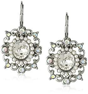 "Betsey Johnson ""Stone & Pearl"" Crystal and Pearl Oval Drop Earrings"