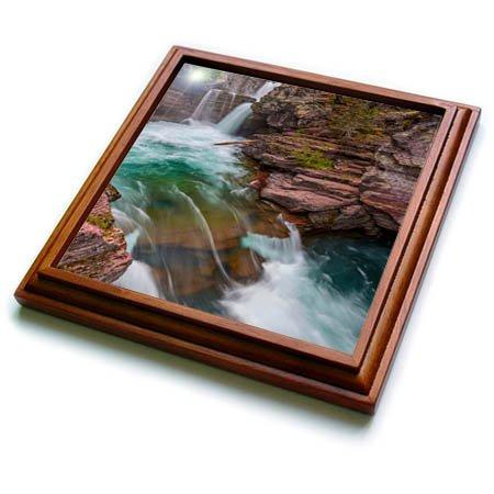 (3dRose Danita Delimont - Waterfalls - St Mary Falls in Glacier National Park, Montana, USA - 8x8 Trivet with 6x6 ceramic tile (trv_259599_1))