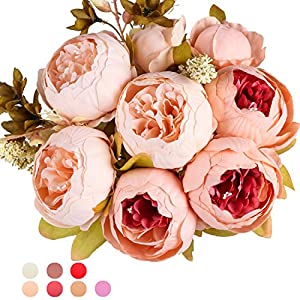 Ogrmar Vintage Artificial Peony Silk Flowers Bouquet for Decoration (Light pink) 7