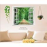 ウォールステッカー 木 森林 窓 景色 鉢植え 花 壁紙シール ウォールシール