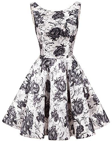 Einfach Grau Damen Rundhalsausschnitt Erosebridal Kleid Blumen Vintage Retro Knielang 7TqqwxaE