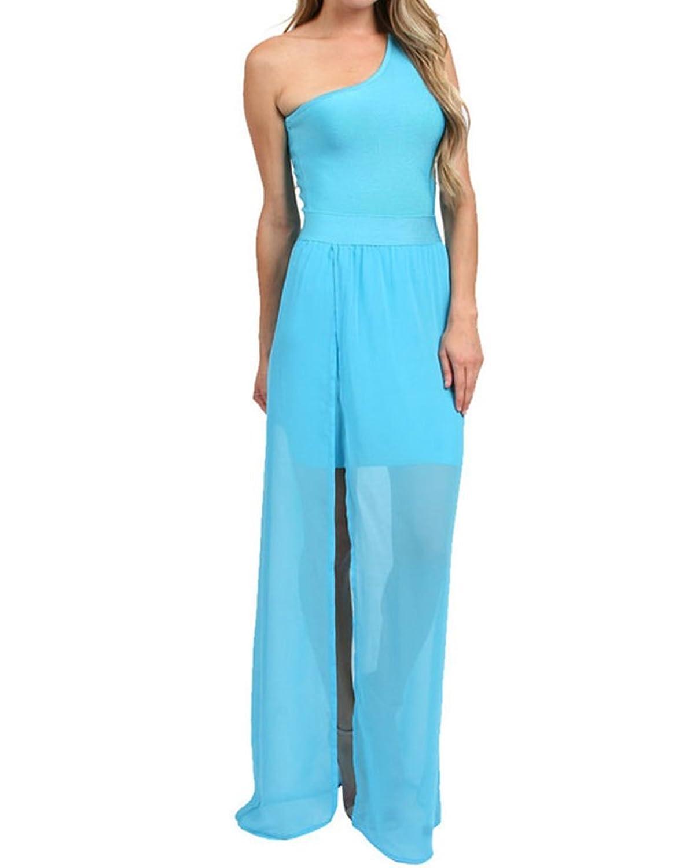 Whoinshop Damen ein Schulter Ausdehnungs VerbandKleid und Bloße Chiffon Maxi PartyKleid
