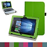 """Acer One 10 S1002 Case,Mama Mouth PU Leather Folio Stand Cover for 10.1"""" Acer One 10 S1002 Detachable 2-in-1 Laptop/Tablet,Green"""