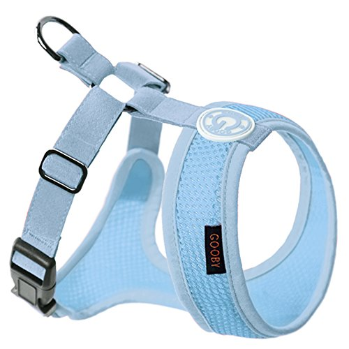 Freedom Synthetic Leather - Gooby - Freedom Harness II, Choke Free Mesh Harness for Small Dogs with Microsuede Straps, Sky Blue, X-Large