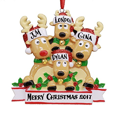 2018 Reindeer Family Hand Personalized Christmas Ornament - Family of 4 (with 2 Children)