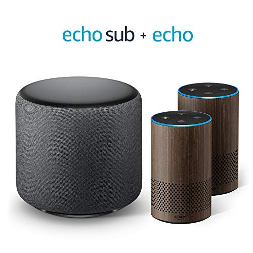 Echo Sub Bundle with 2 Echo (2nd Gen) Devices - Walnut Finish