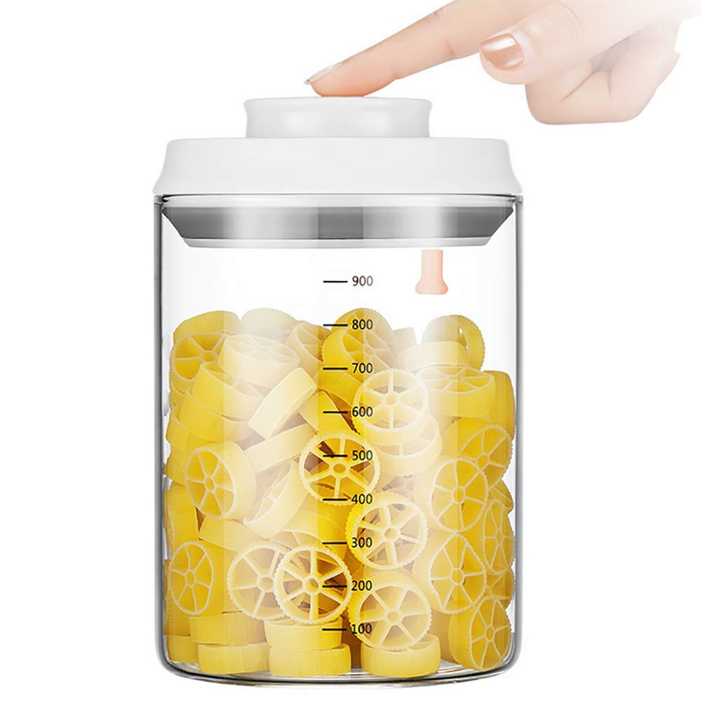 CASILE Round Milk Powder Storage Container -Glass Portable Airtight Food Storage Keeps Food Fresh and Dry,900ML