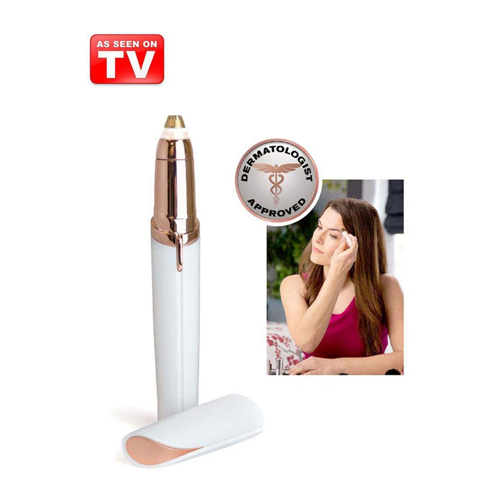 Flawless Painless Facial Hair Remover, Personal Touch Electric Eyebrow Repairing Tool Pencil Lipstick Style,As Seen On TV(Battery not included) (White Color) AIDDKK