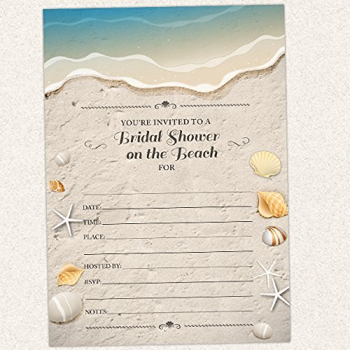 Sand and Shells Beach Bridal Shower Invitation, Set of 10 Fill-in Blank 7x5 Invites and Envelopes