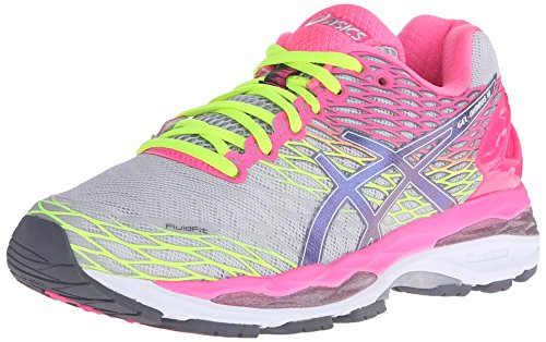 ASICS Women's Gel-Nimbus 18 Running Shoe, Silver/Titanium/Hot Pink, 6 M US