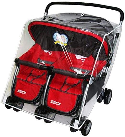 Jiyaru Twin Stroller Rain Cover Universal Buggy Waterproof Wind Dust Shield