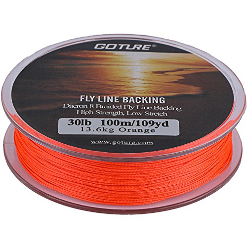 Goture Dacron Fly Fishing Line Backing for Trout Bass Pike in the Saltwater Freshwater 20lb 30lb 109yd Orange White Yellow White/Black Yellow /Black