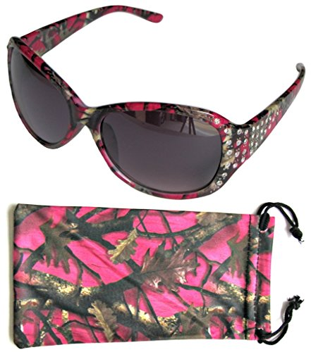 VertX Women's Hot Pink Camouflage Sunglasses Oversized Rhinestone Designer Fashion Eyewear – Hot Pink Camo Frame – Smoke - Pink Glasses Frames Camo