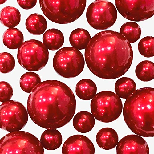 4 Packs Sale Floating No Hole Red Pearls - Jumbo/Assorted Sizes Vase Decorations + Includes Transparent Water Gels for Floating The Pearls