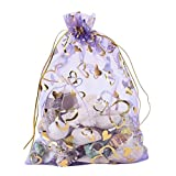 Wuligirl 100pcs Drawstring Organza Bags 4x6'' Lavender Love Storage Jewelry Candy Pouches Chocolate Seashell Wedding Party Favor Easter Gift Bags for Women (Lavender Love)