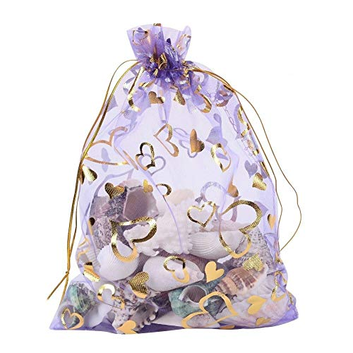 (Wuligirl 100pcs Drawstring Organza Bags 4x6'' Lavender Love Storage Jewelry Candy Pouches Chocolate Seashell Wedding Party Favor Easter Gift Bags for Women (Lavender)