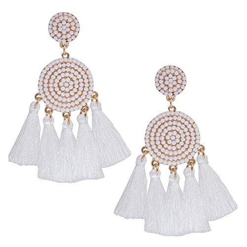ALEXY Women's Tassel Earring, Boho Thread Fringe Dangle Earrings Beaded Disc Stud Chandelier Drop Earring (C White)