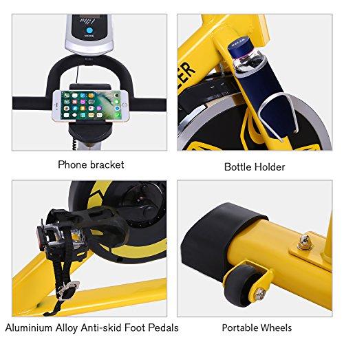 ANCHEER Indoor Cycling Bike, Belt Drive Indoor Exercise Bike with 49LBS Flywheel (Yellow) by ANCHEER (Image #6)