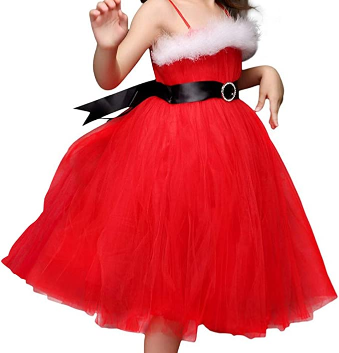 YiZYiF Vestido Mamá Noel Disfraz Navidad Niñas Vestido Tutú Rojo ...