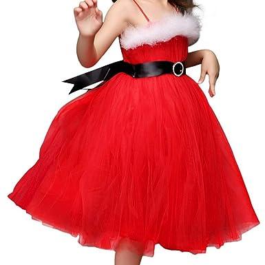 IEFIEL Vestido de Princesa Boda Fiesta Navidad para Niña Vestidos ...