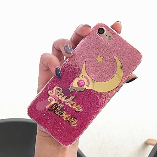 Wkae Stern- und Mondmuster-Funkeln-Puder-Gradienten-schützende rückseitige Abdeckungs-Fall für iPhone 7