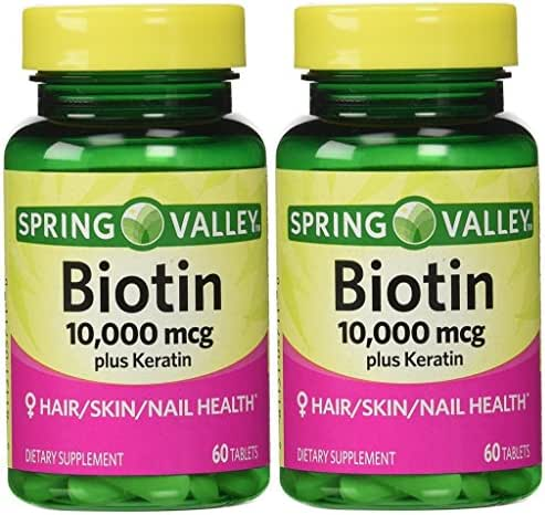 Spring Valley Biotin Dietary Supplement, 10,000 Mg with 100 Mg Keratin, Twin Pack 120 Total Tablets