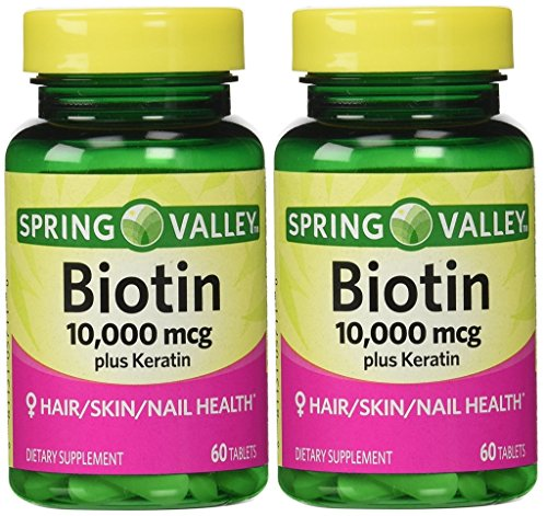100 Mg Twin Pack - Spring Valley Biotin Dietary Supplement, 10,000 Mg With 100 Mg Keratin, Twin Pack 120 Total Tablets
