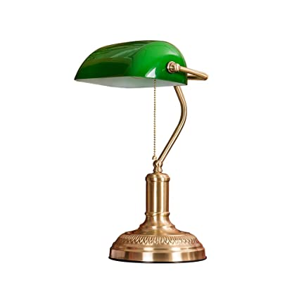 Superieur Briskaari Store Brass Desk Lamp LED Copper American Retro Desk Eye  Protection Lamp Old Shanghai Green