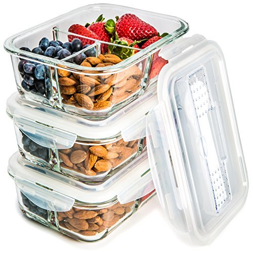[3-Pack] Glass Meal Prep Containers 3 Compartment - Food Storage Container Set with Airtight Locking Lids with Cutlery Compartment - Portion Control - Microwave, Freezer, Oven & Dishwasher Safe ()