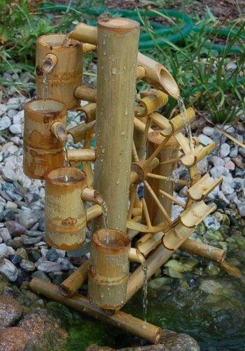 Wilai Bambus Wasserspiel Gartendeko Brunnen Wasserfall f/ür Garten Gartenteich Terrasse Balkon 40 cm hoch Asiatischer Garten