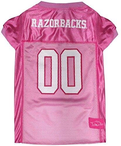 NCAA ARKANSAS RAZORBACKS Dog Pink Jersey, Large. - Pet Pink Outfit.