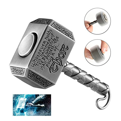 MAYBO SPORTS Wiitin Thor's Battle Hammer Fidget Hand Spinner Made by Brass, the Mighty Mjolnir Keychain Toy – Antique Pewter