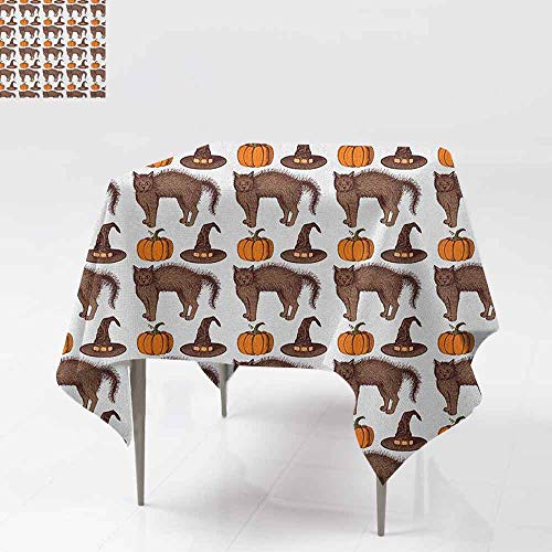 AndyTours Spillproof Tablecloth,Halloween,Seasonal Vintage Pattern with Pumpkin Squash Witch Hats and Cat Figures,for Square and Round Tables,70x70 Inch Brown Orange ()
