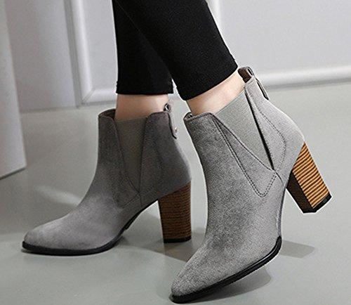 Aisun Kvinna Enkel Faux Mocka Spetsig Tå Dressat Elastisk Dra På Tossor Chunky Hög Klack Boots Grå