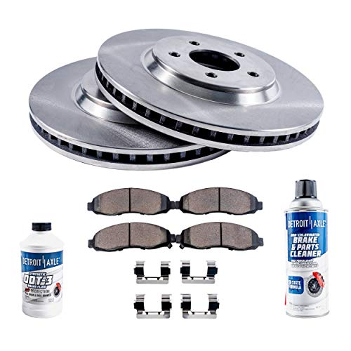 Detroit Axle - Front Brake Rotors Set & Brake Pads w/Clips Hardware Kit & BRAKE CLEANER & FLUID INCLUDED for 2007-2009 Chrsyler Aspen - [2007-2009 Durango] - 2006-2016 Ram 1500 5-Lug Wheels - NO SRT