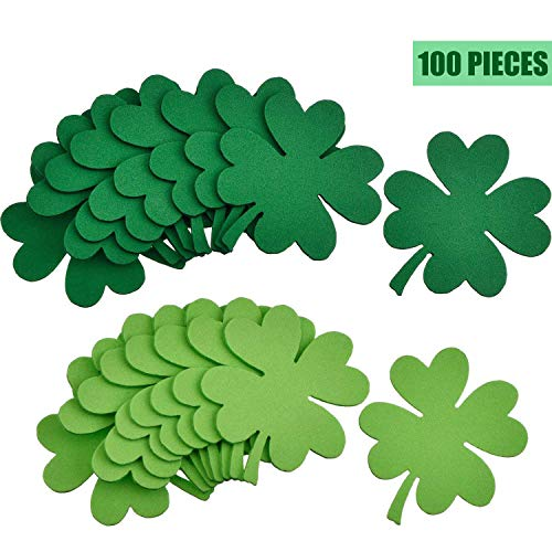Skylety Green Shamrock Foam Wall Decoration for St. Patrick's Day, Lucky Shamrock Cutouts Foam Set (100 Pieces) ()