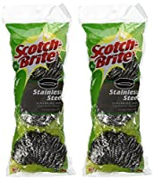 3M Scotch-Brite Stainless Steel Scouring Pad 3-Pad(2Pack)